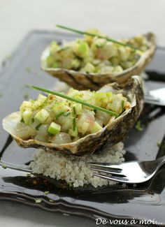 Oyster with a fresh spring vinaigrette # fusion food # tapas