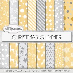 "Gold & silver digital papers ""CHRISTMAS GLIMMER"" with stars, reindeer, vines, stripes, snowflakes, snow, mistletoes for invites scrapbooking"