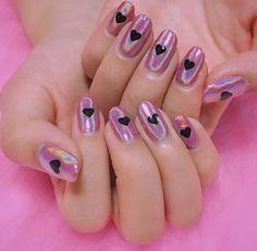 Pink holo heart nails
