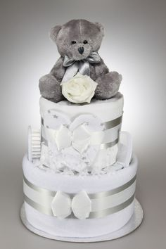 Unisex Two Tier Nappy Cake with Silver Teddy Bear