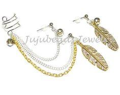 """Handmade to order  1"""" antiqued gold feather charms  6mm crystals Tarnish resistant wire ear cuff, size/fit varies chain lengths 3.5"""" &  3"""" & 2.5"""" surgical steel studs (hypoallergenic)"""