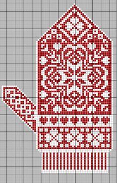 Christmas mitten embroidery a cross, scheme Knitting Charts, Knitting Stitches, Knitting Socks, Knitting Patterns, Knitted Mittens Pattern, Crochet Mittens, Cross Stitching, Cross Stitch Embroidery, Cross Stitch Patterns