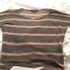 Grey and Pink Short sleeve sweater shirt This is a short sleeve sweater material. Very lightweight. Grey with pink strips. Size small. Hardly ever worn Forever 21 Sweaters