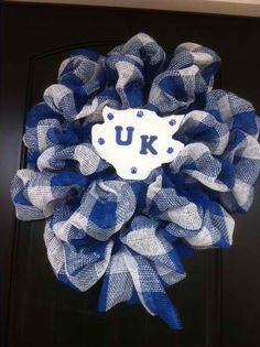 University of Kentucky Wildcats... #GOBIGBLUE Royal & White Plaid Paper Mesh. Work wreath from http://www.trendytree.com See more http://www.faceboo.com/All About You Designs #trendytree #tailgating #kentucky #wildcats #wreath