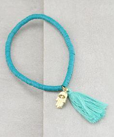 Turquoise Shell & Goldtone Third Eye Tassel Bracelet