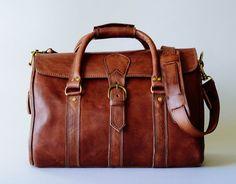 Leather Duffle Bag Full Grain Leather Handbag by BennyBeeLeather