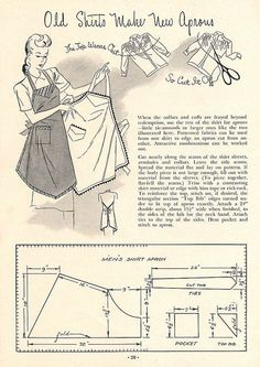 Sewing Vintage apron pattern / free digital pattern / up cycle / how to / diy / mend and make do Vintage Apron Pattern, Apron Pattern Free, Vintage Sewing Patterns, Apron Patterns, Sewing Aprons, Sewing Clothes, Diy Clothes, Sewing Men, Clothes Refashion