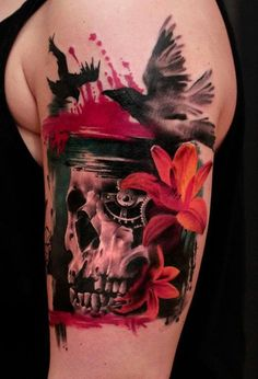 3D skull tattoo - 60+ Amazing 3D Tattoo Designs