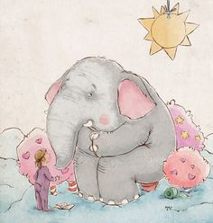 The girl and the elephant. by Valentina Yaskina, via Behance Elephant Facts, Elephant Love, Elephant Illustration, Illustration Art, Animal Paintings, Animal Drawings, Elephant Paintings, Art Blog, Art Day