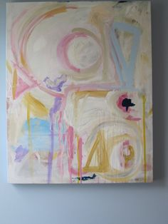 Large abstract 24x30 in pastel colors by by KerrySteelefineart