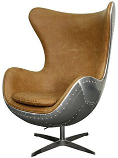 New Pacific Direct Axis Pu Leather Aviator Swivel Rocker Chair Aluminum Frame Distressed Caramel
