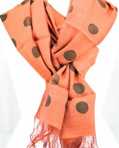 Pure Silk Scarf -Hand painted silk scarf- Black silk scarf- TerraCotta- Polka dot- Gift for Her- Gift for women- Birthday gift-Gift for mom by Ornify on Etsy Birthday Gifts For Women, Gifts For Mom, Painted Silk, Hand Painted, Black Silk, Pure Silk, Terracotta, Scarves, Polka Dots