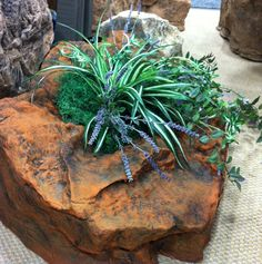 """Stepping Fake Rock Planter . Shown In Santa Fe Red 36""""L x 24""""W x 10""""H  10 lbs. Item# 2120"""