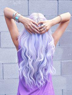 lavender hair, pastel hair, purple hair, curly hair, wavy hair, neon hair, beautiful hair