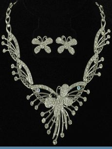 Butterfly Necklace & Earrings Accented with Clear Rhinestones in Silvertones $48 @ www.whimzaccessories.com