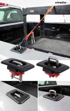 Heavy-duty anchor rings provide accessible tie-down points for securing your load on your truck bed. Retractable, spring-loaded design lets you easily snap rings up or down Silverado Truck, Chevy Trucks, Pickup Trucks, Lifted Chevy, Chevrolet Silverado, Ford Ranger, Cool Truck Accessories, Truck Accesories, Chevy Silverado Accessories