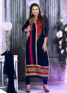 Blue Wedding Special Anarkali Suits Supplier Online   Buy Now @ http://www.suratwholesaleshop.com/casual-wear-beige-georgette-embroidered-work-straight-suit-4020?view=catalog  Whats App @ +91-7622968934