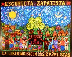 'Escuelita zapatista', Beatriz Aurora, 46 x 34 cm / EZLN, pintura, arte zapatista, zapatista movement