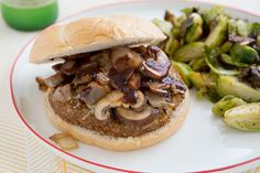 BBQ Cremini Burgers and Roasted Lemon Pepper Brussels Sprouts