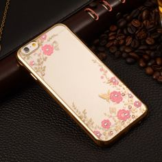 For iPhone6 Secret Garden Flowers Bling Case For Apple iPhone 6s Plus Butterfly Diamond Lace Plating Gilded Soft TPU Phone Cover