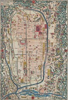 1863 Japanese map of Kyoto. Beinecke Library.