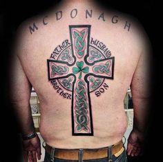 Cool Irish Ross With Green Design Guys Back Tattoo