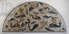 Cupids playing with dolphins, mosaic decoration of a fountain from Utica, Tunisia, (4th century) - Louvre
