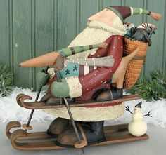 Santa With Dog On Skis Figurine  Williraye Studio