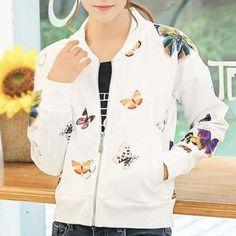 Fashion butterfly bomber jacket for women casual zip jackets coat