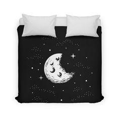 Lunar duvet cover by ShortWorkShop on Threadless.  Sleep under the moon and stars.
