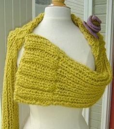Three Quarter Bell Sleeve Shrug Pattern Knitted by ficklefiberdiva, $7.00