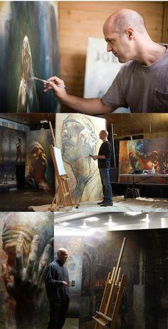 Fletcher Crossman painting in his art studio #workspace.