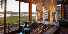 Botswana Vumbura Plains Eco Camp is strategic sited so that travelers vacationing at the camp can enjoy Okavango Delta's copious wildlife and adventures.