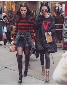 Top models Kendall Jenner and Bella Hadid can't stop eating junk food (read: McDonalds and Nandos) at fashion week. Look Fashion, Street Fashion, Winter Fashion, Fashion Outfits, Womens Fashion, Fashion Trends, Street Style Inspiration, Inspiration Mode, Kendall Jenner Gigi Hadid