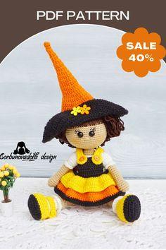 Handmade Dolls Patterns, Diy Crochet Patterns, Crochet Doll Pattern, Amigurumi Patterns, Doll Patterns, Knitting Patterns, Crochet Dolls, Crochet Ideas, Halloween Doll