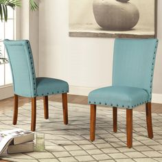 Roundhill Furniture Elliya Fabric with Nailheads Parsons Chairs Teal Set of 2 -- Be sure to check out this awesome product. Simple Furniture, Living Room Chairs, Living Room Furniture, Modern Furniture, Kitchen Furniture, Dining Rooms, Furniture Ideas, Blue Accent Chairs, Blue Chairs