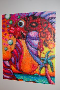abstract fish perler bead art made by me - amanda wasend