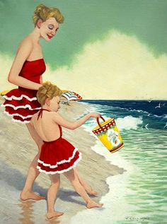 Vintage illustration of Mom and daughter in matching bathing suits at the beach.