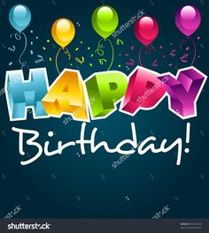 Colorful Happy Birthday Party Greeting Card. Imagen de archivo (stock) 67079248 : Shutterstock