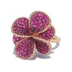Effy Jewelry Effy Nature 14K Rose Gold Ruby and Diamond Flower Ring,... ($1,995) ❤ liked on Polyvore