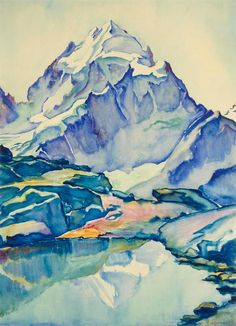 """ Clara Porges (Swiss, 1879-1963), Fuorcia Surlej with Piz Roseg. Watercolour on paper, 72.5 x 53 cm. """