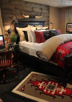 Inspiring Rustic Bedroom Ideas To Decorate With Style : Black Bed Design  Black Headerboard Wooden Wall Red Quilt In Rustic Bedroom Design