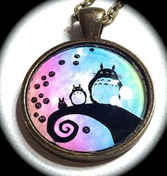 """NIGHTMARE TOTORO .. GLaSS PeNDANT NeCKLACE .. GHIBLI .. CoSPLAY KAWAii .. SOoT SPRiTES .. GiRLGAMEGEEK. Handmade item necklace. Materials: alloy , glass and BRONZE chain. color :BRONZE Wander Necklace,Free Spirited Quote. Size: It measures 1"""" in diameter. package : charm gift bag."""