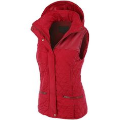 LE3NO Womens Faux Fur Quilted Puffer Jacket Vest with Detachable... ($26) ❤ liked on Polyvore featuring outerwear, vests, zip vest, faux fur puffer jacket, red faux fur vest, puffer jacket and red vest