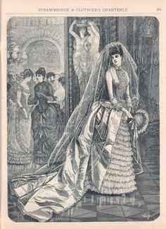 Wedding dress, Winter 1885-86 US (Philadelphia), Strawbridge and Clothier's Quarterly