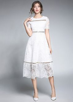 Shop Hollow Lace A-Line Dress online. SheIn offers Hollow Lace A-Line Dress & more to fit your fashionable needs. Day Dresses, Dresses Online, Summer Dresses, Midi Dresses, Autumn Dresses, White Lace, White Dress, Lace A Line Dress, Fit Flare Dress