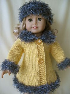 Ravelry: MAD MEN classic A-line doll coat and hat pattern by Vita Bitty Baby Clothes, Girl Doll Clothes, Barbie Clothes, Girl Dolls, Ag Dolls, Knitting Dolls Clothes, Crochet Doll Clothes, Doll Clothes Patterns, Knitted Doll Patterns