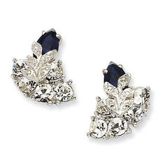Jackie Kennedy Jewelry Silver-tone Swarovski Crystal Blue Snowflake Post Earrings