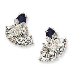Jackie Kennedy Jewelry Silver-tone Swarovski Crystal Blue Snowflake Post Earrings