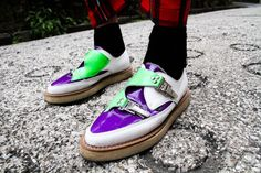 Purple, white and teal oxfords